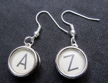 Request Letter Customized Initial Earrings Vintage Typewriter Keys Miniblings White A +? – Bild 3
