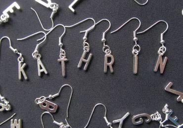 Buchstaben Ohrringe Hänger Miniblings Buchstabe WUNSCHBUCHSTABEN silber L+? – Bild 3