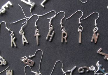 Request Letter Earrings Miniblings Customized Initial Initials Silver P +? – Bild 3