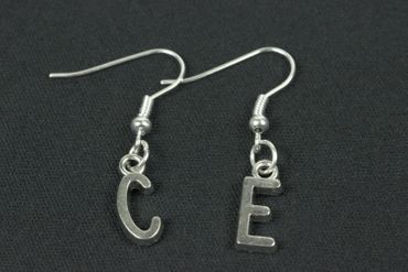 Request Letter Earrings Miniblings Customized Initial Initials Silver P +? – Bild 4