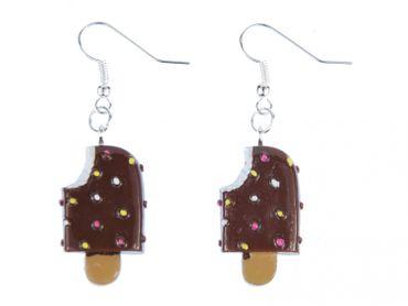 Eis am Stiel Ohrringe Hänger Miniblings Eiscreme Sommer Schokolade Süß braun – Bild 1