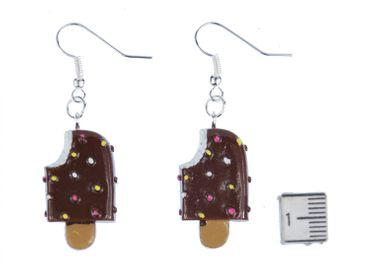 Eis am Stiel Ohrringe Hänger Miniblings Eiscreme Sommer Schokolade Süß braun – Bild 2