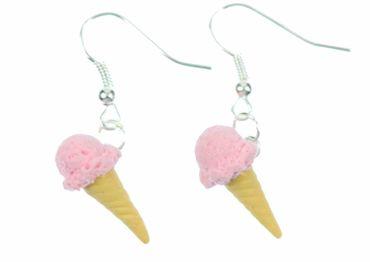 Eis Waffeleis Ohrringe Hänger Miniblings Eiscreme Eisohrringe Erdbeere rosa – Bild 1