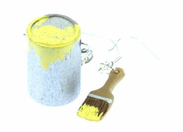 Farbeimer Pinsel Set Ohrringe Farbe Lack Miniblings Maler Künstler Malerset gelb