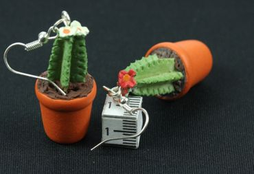 Cactus Cacti Pot Plant Earrings Miniblings Flowers Single-Stemmed 3D – Bild 1