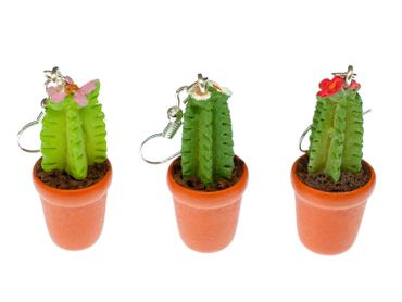 Cactus Cacti Pot Plant Earrings Miniblings Flowers Single-Stemmed 3D – Bild 3