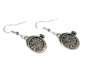 Watch Earrings Clockwork Wristwatch Time Steampunk Miniblings Earrings Silver – Bild 1