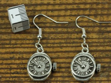 Watch Earrings Clockwork Wristwatch Time Steampunk Miniblings Earrings Silver – Bild 2