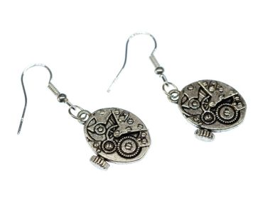 Watch Earrings Clockwork Wristwatch Time Steampunk Miniblings Earrings Silver – Bild 4