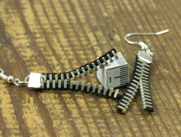 Zipper Pull Earrings Miniblings Vintage Upcycling Zipper Pull Black – Bild 1