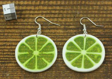 Lime Earrings Miniblings Lime Lemon Fruit Round 35mm Green – Bild 2