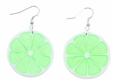 Lime Earrings Miniblings Lime Lemon Fruit Round 35mm Green – Bild 3