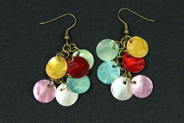 Pearl Earrings Miniblings Dangling Pearl Discs Hippie Boho Colorful – Bild 1