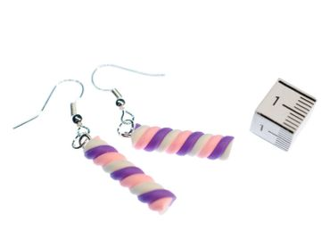 Marshmellows Marshmallow Earrings Miniblings Candy Cane Candy Purple – Bild 2
