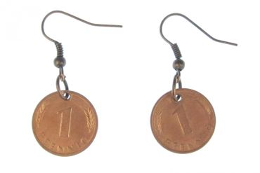 1 Penny Coin Earrings Miniblings D-Mark Lucky Penny  – Bild 1