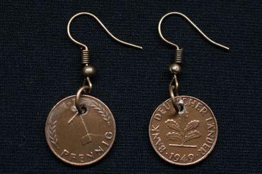 1 Penny Coin Earrings Miniblings D-Mark Lucky Penny – Bild 4