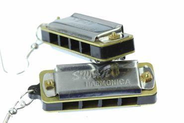 Harmonica Spielbar Earrings Miniblings Musician Blues With Box – Bild 3