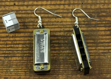 Harmonica Spielbar Earrings Miniblings Musician Blues With Box – Bild 5