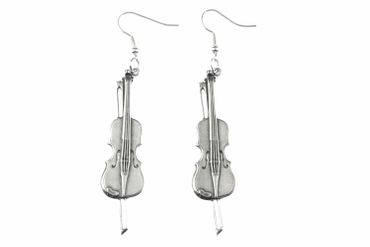 Fiddle Violin Earrings Miniblings Violin Viola Violinist Silver Plated – Bild 1