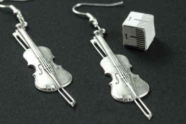 Fiddle Violin Earrings Miniblings Violin Viola Violinist Silver Plated – Bild 2