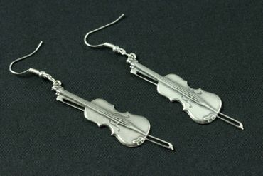 Fiddle Violin Earrings Miniblings Violin Viola Violinist Silver Plated – Bild 3