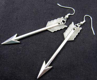 Arrow Earrings Miniblings Indian Arrows 6cm Silver – Bild 3