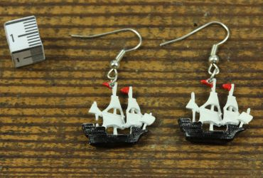 Pirate Ship Earrings Pendant Miniblings Maritim Boat Sailing Ship Pirate – Bild 2
