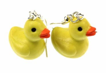 Squeaking Duck Earrings Miniblings Rubber Duck Bath Rubber 2cm