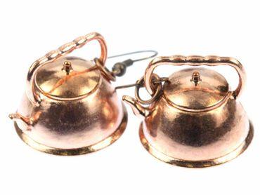 Wasserkessel Ohrringe Kupferkessel Teekanne Kupfer Miniblings Teekessel Tee  – Bild 1