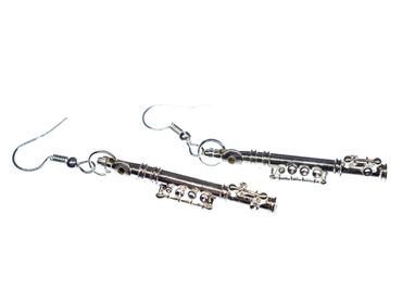 Transverse Flute Earrings Miniblings Flute Music Orchestra + Box Silver Plated 4cm – Bild 5