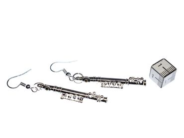 Transverse Flute Earrings Miniblings Flute Music Orchestra + Box Silver Plated 4cm – Bild 6
