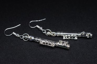 Transverse Flute Earrings Miniblings Flute Music Orchestra + Box Silver Plated 4cm – Bild 1