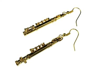 Transverse Flute Earrings Miniblings Flute Music Orchestra + Box Gold Plated – Bild 1
