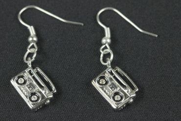Recorder Earrings Miniblings Boom Box Music Cassette Recorder 80S – Bild 2