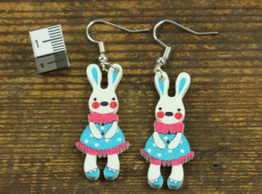 Easter Bunny Earrings Miniblings Easter Bunny Blue – Bild 2