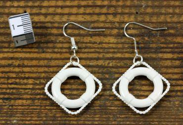 Lifebelt Earrings Miniblings Maritim Boat Ship Sea White Plastic – Bild 4