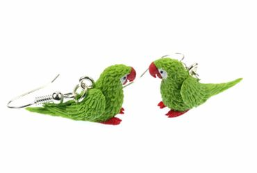 Papagei Ohrringe Hänger Miniblings Amazonaspapagei Amazone Miniatur Vogel grün – Bild 2