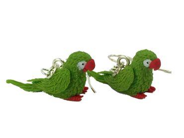 Papagei Ohrringe Hänger Miniblings Amazonaspapagei Amazone Miniatur Vogel grün – Bild 1