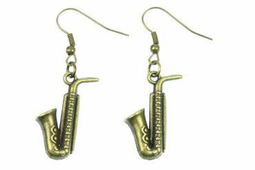 Saxofon Ohrringe Hänger Miniblings Saxophon Musik Sax Instrument Jazz Bronze – Bild 1