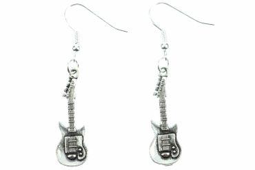E-Gitarren Ohrringe Miniblings Hänger Gitarrenohrringe Band Superstar Musik silb – Bild 1
