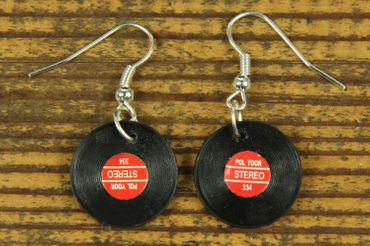 Record Earrings Miniblings Record LP Vinyl DJ Music Red – Bild 2