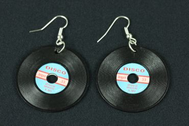 Record Earrings Miniblings Record LP Vinyl DJ Music Black Blue XL – Bild 2