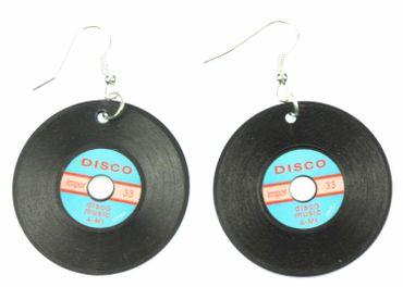 Schallplatte Ohrringe Miniblings Schallplatten LP Vinyl DJ Musik schwz blau XL – Bild 1