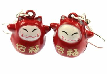 Lucky Cat Maneki-Neko Earrings Miniblings Cats Manga Red
