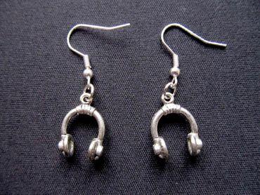 Kopfhörer Ohrringe Miniblings Hänger Headphones DJ Musik Band Speaker silber – Bild 1