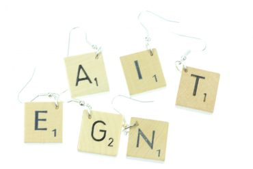 Scrabble Earrings Initials Request Letter Customized Initial Letter Upcycling Desire C +? – Bild 2