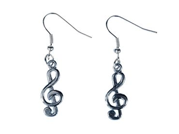 Treble Clef Earrings Clef Music Pendant Miniblings Piano Silver – Bild 1