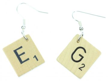 Scrabble Earrings Initials Request Letter Customized Initial Letter Upcycling Desire H +? – Bild 1