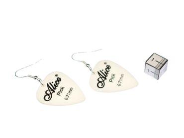 Plektrum Plektron Ohrringe Miniblings Hänger Gitarre E-Gitarre Band weiß – Bild 3
