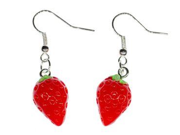 Erdbeeren Ohrringe Erdbeerohrringe Miniblings Hänger Strawberry rund rot 3D – Bild 1